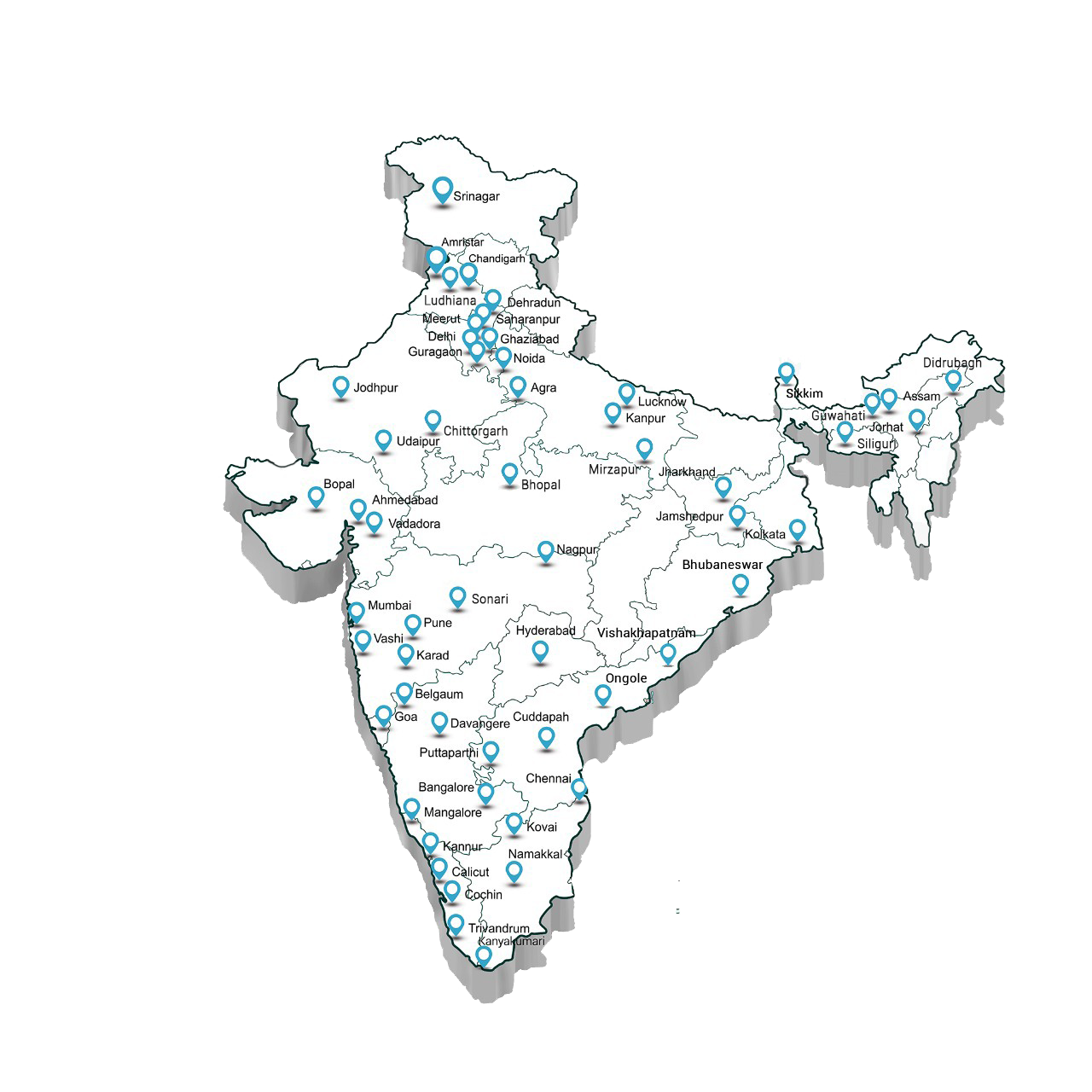 Indian Map with Elite Services